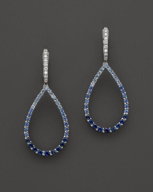 Bloomingdale's - Sapphire And Diamond Ombré Teardrop Earrings In 14k White Gold - Lyst