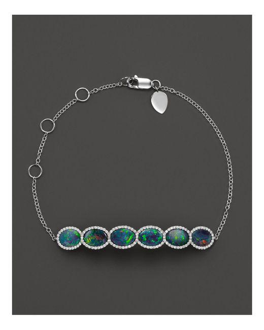Meira T | Blue 14k White Gold 6 Stone Opal Bracelet | Lyst