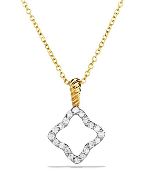 David Yurman - Metallic Diamond 18k Gold Quatrefoil Necklace - Lyst