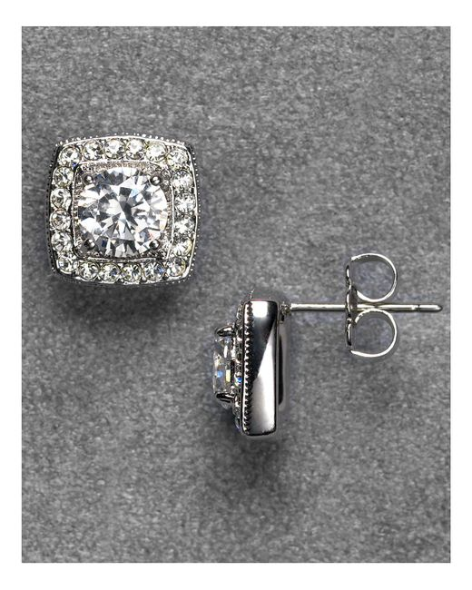 Nadri | Metallic Framed Crystal Stud Earrings | Lyst