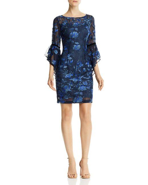Aidan Mattox - Blue Bell-sleeve Lace Dress - Lyst