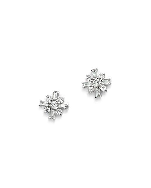 KC Designs | 14k White Gold Mosaic Diamond Stud Earrings | Lyst