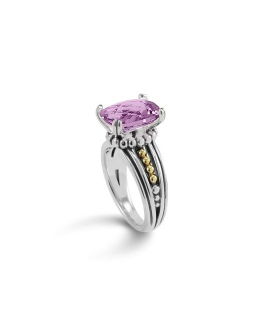 Lagos | Metallic 18k Gold And Sterling Silver Prism Amethyst Ring | Lyst