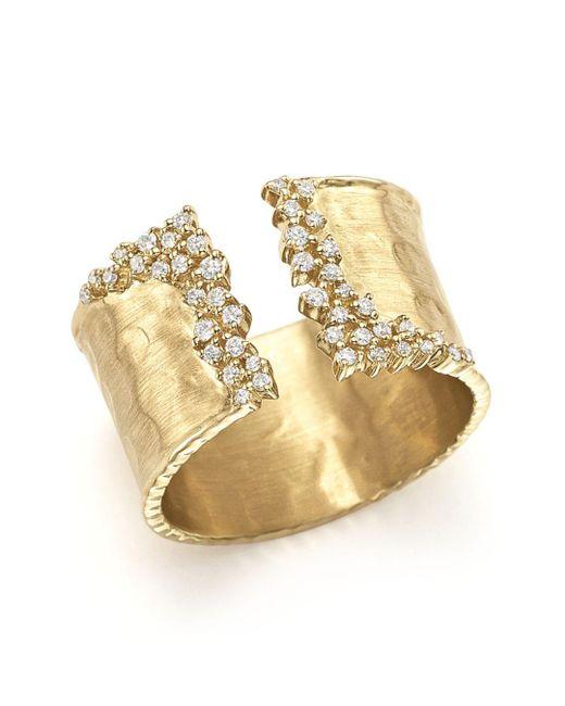 Bloomingdale's - Metallic Diamond Cuff Ring In 14k Yellow Gold - Lyst