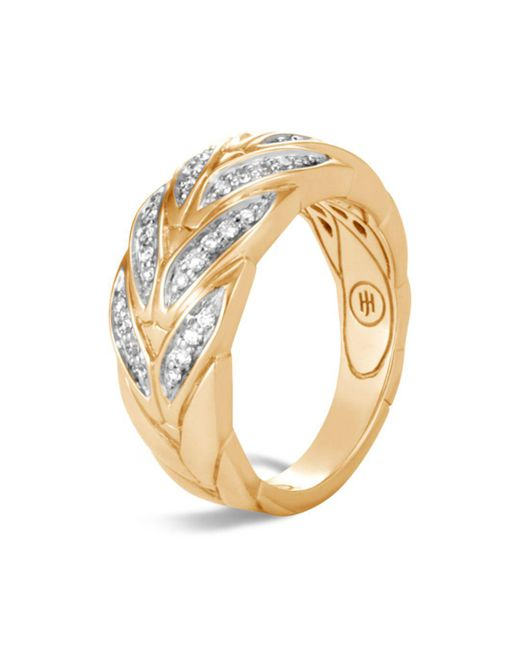 John Hardy - Metallic 18k Yellow Gold Modern Chain Pavé Diamond Small Ring - Lyst