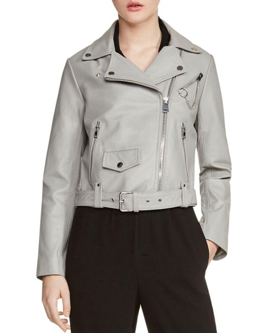 Maje - Gray Bassung Belted Leather Motorcycle Jacket - Lyst