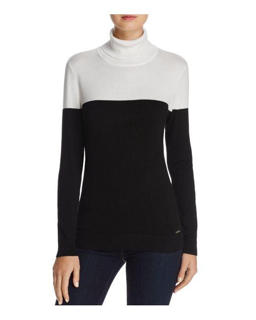 Calvin Klein | Black Color-blocked Turtleneck Sweater | Lyst