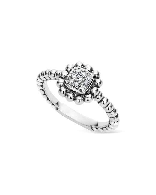 Lagos - Metallic Sterling Silver Caviar Spark Diamond Square Ring - Lyst