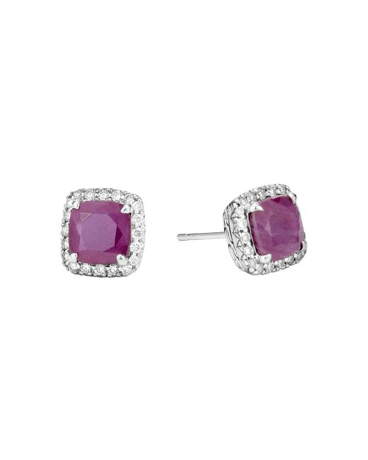 John Hardy - Pink Sterling Silver Classic Chain Magic Cut Indian Ruby Stud Earrings With Diamonds - Lyst