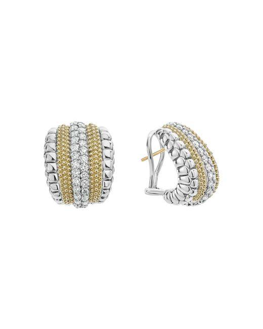Lagos - Metallic 18k Gold And Sterling Silver Diamond Lux Curved Huggie Hoop Earrings - Lyst