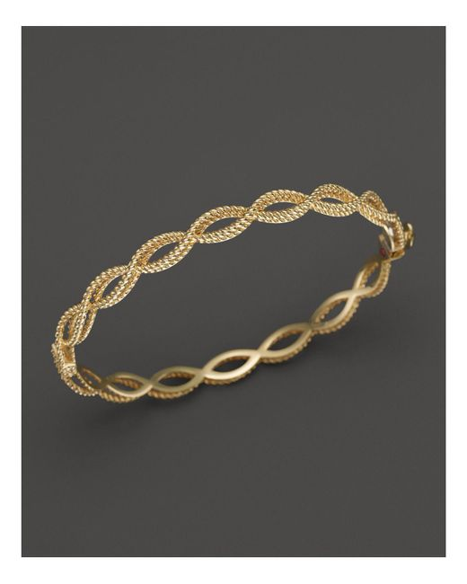 Roberto Coin - Metallic 18k Yellow Gold Single Row Twisted Bangle - Lyst
