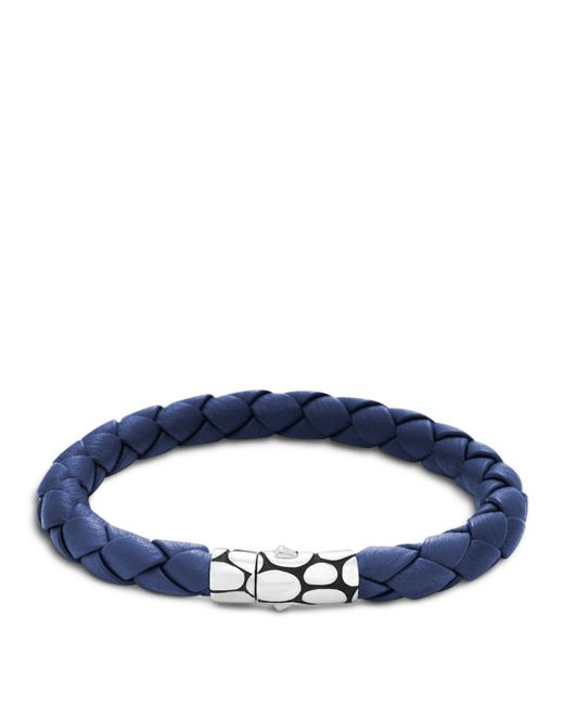 John Hardy - Men's Kali Silver Blue Woven Leather Bracelet for Men - Lyst