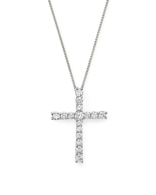 Bloomingdale's - Diamond Cross Pendant Necklace In 14k White Gold, 1.50 Ct. T.w. - Lyst