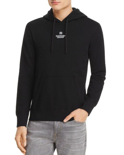 Reigning Champ - Black Embroidered Logo Hoodie for Men - Lyst