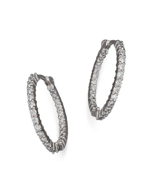 Roberto Coin - Metallic 18k White Gold Diamond Inside-out Hoop Earrings - Lyst