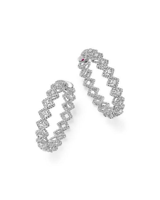 Roberto Coin - 18k White Gold New Barocco Diamond Hoop Earrings - Lyst