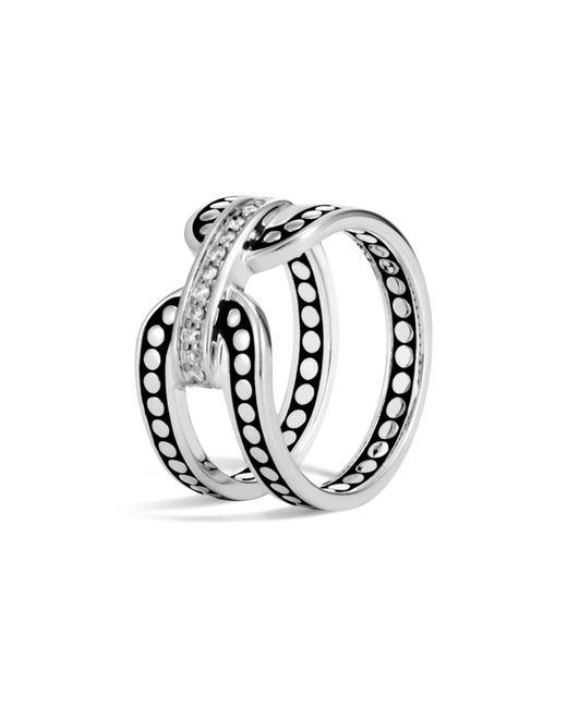John Hardy - Metallic Sterling Silver Dot Band Ring With Pavé Diamonds - Lyst