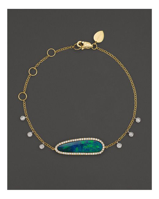 Meira T | Multicolor 14k Yellow Gold Oval Blue Opal And Diamond Bracelet | Lyst