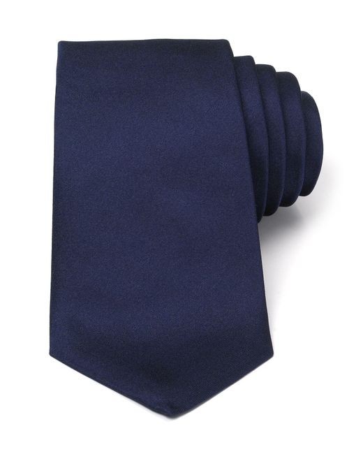 Turnbull & Asser - Blue Solid Satin Classic Tie for Men - Lyst