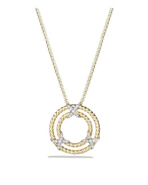 David Yurman - Metallic X Pendant Necklace With Diamonds In 18k Yellow Gold - Lyst