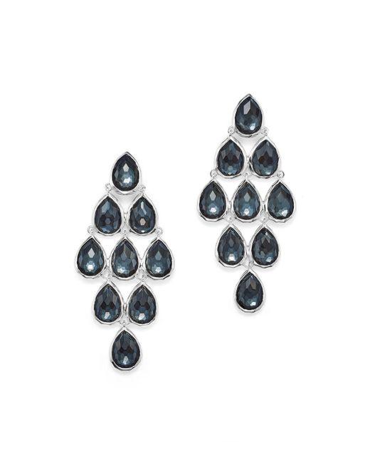 Ippolita | Metallic Sterling Silver Rock Candy® Teardrop Cascade Earrings In Clear Quartz And Hematite | Lyst