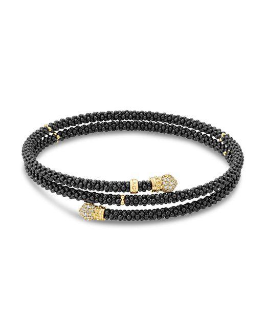 Lagos - Metallic Gold & Black Caviar Collection 18k Gold & Diamond Coil Bracelet - Lyst