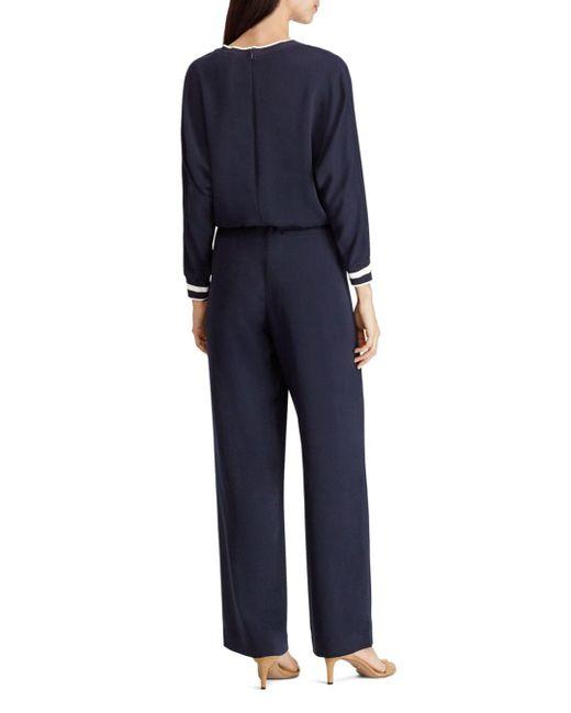 07b8e4e5962 ... Ralph Lauren - Blue Lauren Striped Trim Drawstring Jumpsuit - Lyst ...
