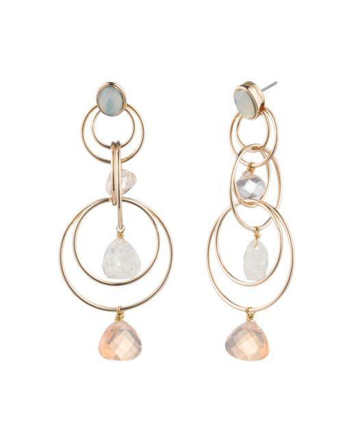 Aqua - Metallic Floating Stone Link Chandelier Earrings - Lyst