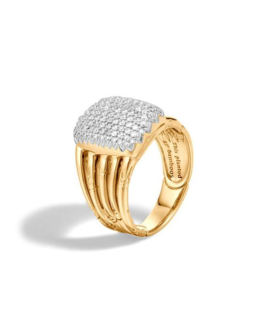 John Hardy - Metallic Bamboo 18k Yellow Gold Diamond Pavé Five Row Ring - Lyst
