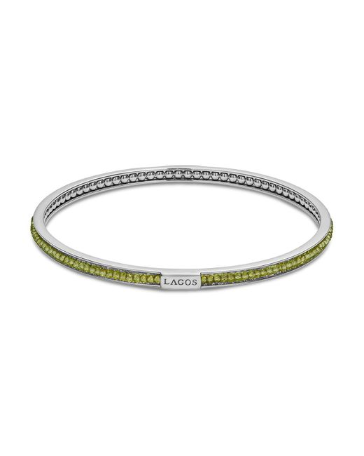 Lagos - Metallic Sterling Silver Caviar Icon Peridot Beaded Bangle Bracelet - Lyst