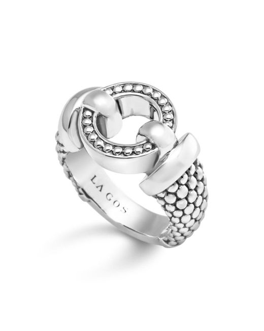 Lagos - Metallic Sterling Silver Beaded Ring - Lyst