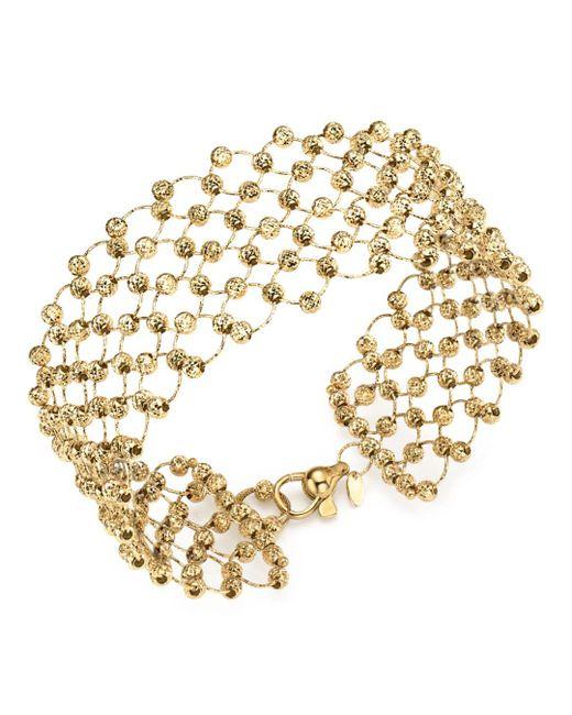 Bloomingdale's - Metallic 14k Yellow Gold Beaded Statement Bracelet - Lyst