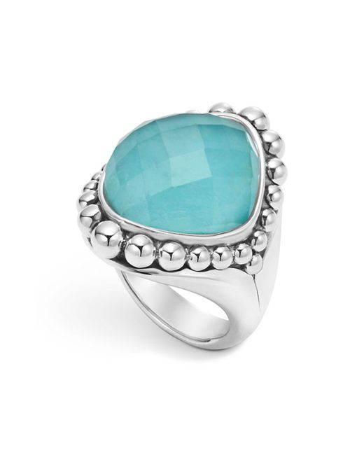 Lagos - Metallic Sterling Silver Maya Escape Turquoise Doublet Dome Ring - Lyst