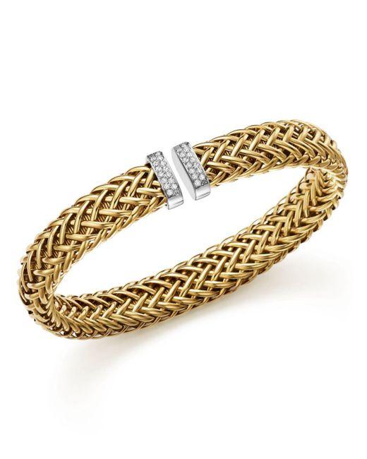 Roberto Coin - Metallic 18k Yellow Gold Primavera Woven Bracelet With Diamonds - Lyst