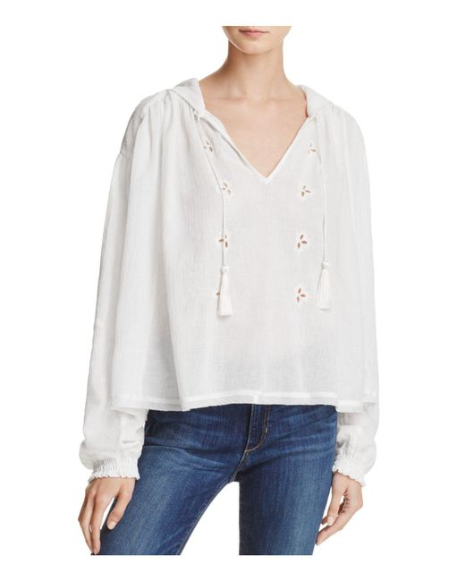 Free People | White Tropic Summer Hooded Top | Lyst