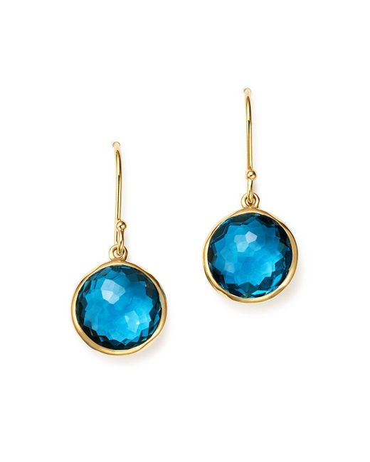 Ippolita | 18k Gold Lollipop Earrings In London Blue Topaz | Lyst