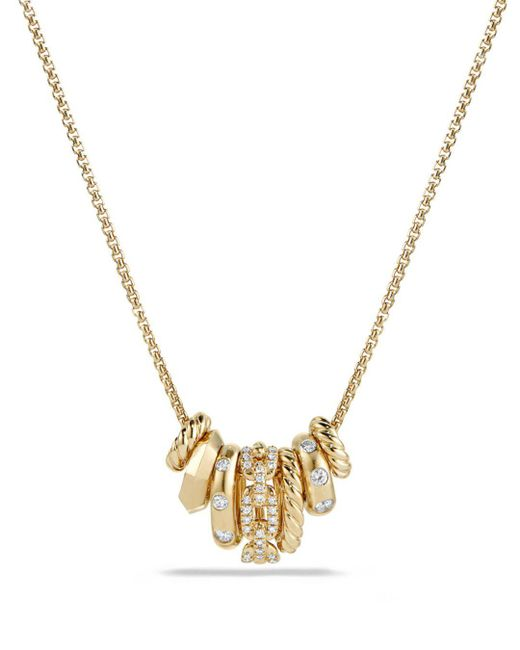 David Yurman - Metallic Stax Rondelle Pendant Necklace With Diamonds In 18k Gold - Lyst