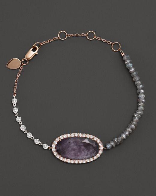 Meira T - Purple 14k Rose Gold Rough Amethyst Beaded Bracelet With Diamonds - Lyst