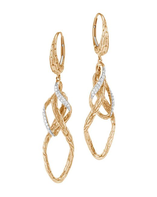 John Hardy - Metallic 18k Yellow Gold Classic Chain Pavé Diamond Drop Earrings - Lyst