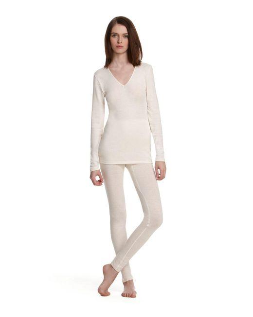 Hanro | White Woolen Silk Basic Longlegs | Lyst
