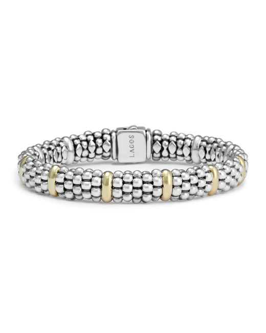 Lagos | Metallic Sterling Silver And 18k Yellow Gold Caviar Beaded Oval Bracelet | Lyst