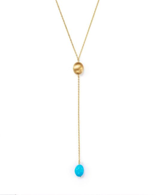 """Bloomingdale's - Metallic Turquoise Nugget Y-necklace In 14k Yellow Gold, 18"""" - Lyst"""