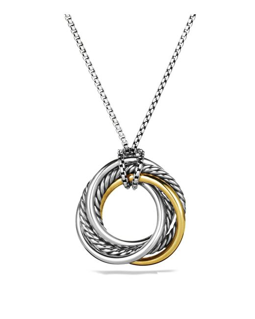 David Yurman | Metallic Crossover Small Pendant With Gold On Chain | Lyst