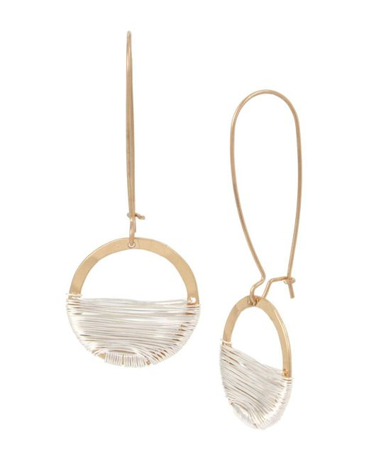 Robert Lee Morris - Metallic Two-tone Wire Wrap Shepherd's Hook Earrings - Lyst