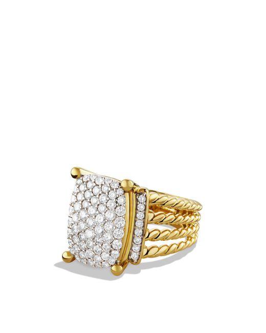 David Yurman - Yellow Wheaton Ring With Diamonds In Gold - Lyst