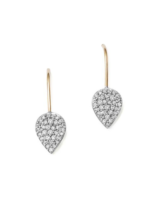 Adina Reyter | Metallic Sterling Silver And 14k Yellow Gold Pavé Diamond Teardrop Earrings | Lyst