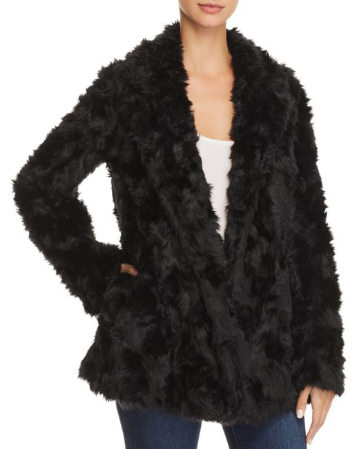 Theory - Black Clairene Faux-fur Coat - Lyst