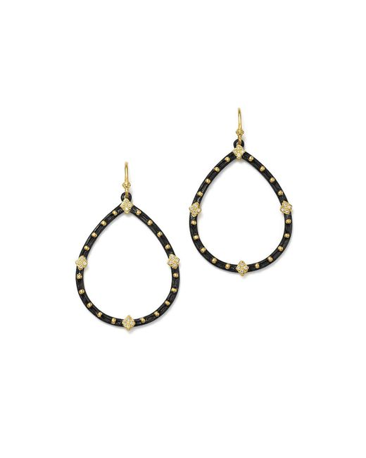 Armenta | Metallic 18k Yellow Gold And Blackened Sterling Silver Old World Pear Diamond Drop Earrings | Lyst
