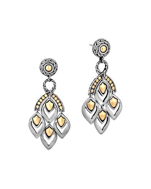 "John Hardy | Metallic ""naga"" Gold And Silver Chandelier Earrings | Lyst"