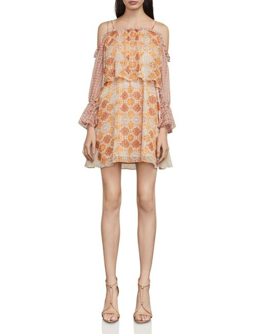 BCBGMAXAZRIA - Natural Dimitri Silk-blend Shift Dress - Lyst